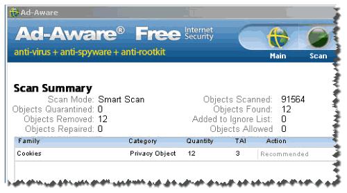 результат работы программы adaware