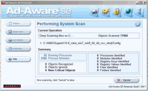 Интерфейс бесплатной старой программы AdAware